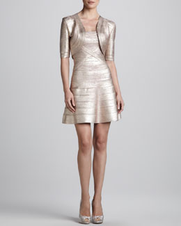Herve Leger Shimmery Bandage-Knit Bolero & Flared Bandage Dress