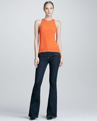 Slit-Back Silk Top and Rich Blue Flared Jeans