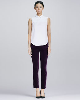 Victoria Beckham Denim Zip-Back Poplin Shirt and Slim Velvet Ankle Pants