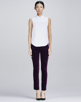 Zip-Back Poplin Shirt and Slim Velvet Ankle Pants