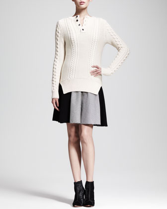 Cable-Knit Henley Sweater & Checkerboard Fit-and-Flare Dress
