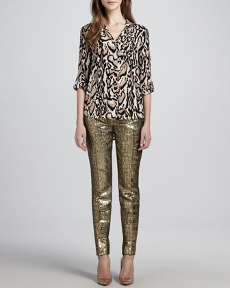 Lorelei Leopard-Print Chiffon Blouse & Mary Metallic Slim Pants