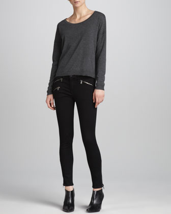 Natlie Boat-Neck Back-Vent Pullover & Midrise Leggings with Ankle Zip