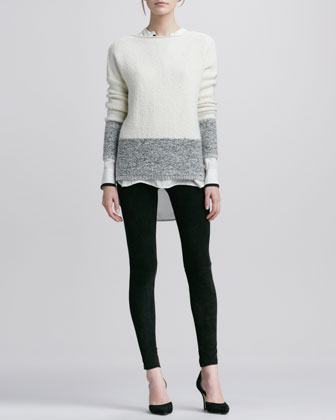 Boat-Neck Sweater, Tipped Contrast Blouse & Suede Leggings