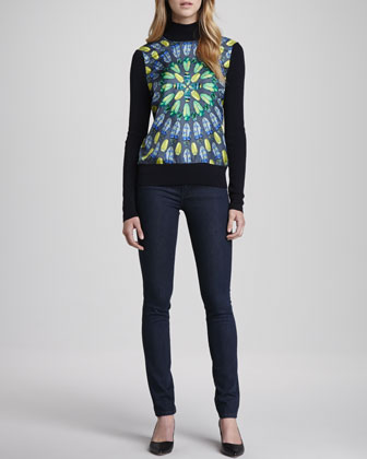 Wren Sweater with Front Panel & Denim Leggings