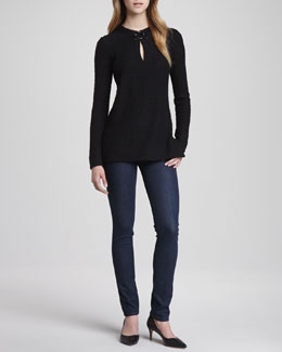 Tory Burch Mim Baby Alpaca Tunic & Denim Leggings