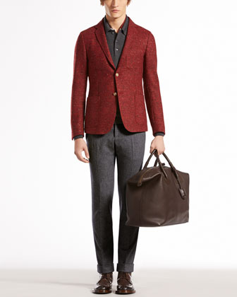 Tweed Duke Jacket, Wool-Melange Long-Sleeve Polo, Stretch Flannel Riding Pants & Botanic-Print ...