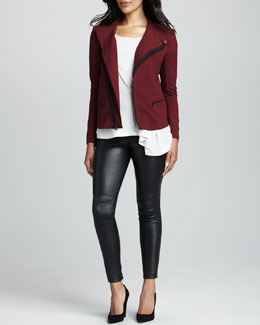Elizabeth and James Charlotte Asymmetric Stretch Jacket, Ethan Asymmetric Slub Tee & Addison Leather Leggings