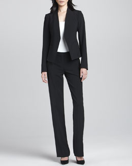 Theory Lanai Open Crepe Blazer & Emery 2 Straight-Leg Pants
