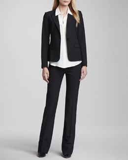 Theory Gabe One-Button Jacket, Duria Sleeveless Silk Blouse & Max Urban Trousers