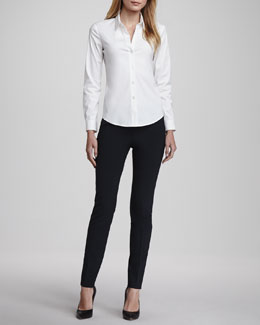 Theory Larissa Button-Front Blouse & Louise Urban Skinny Pants