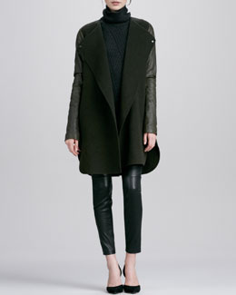 Vince Leather-Sleeved Double-Face Wool Coat, Traveling Rib-Knit Turtleneck & Zipper-Cuff Cropped Leather Leggings