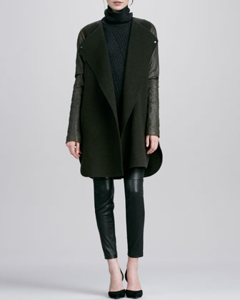 Leather-Sleeved Double-Face Wool Coat, Traveling Rib-Knit Turtleneck & Zipper-Cuff Cropped ...