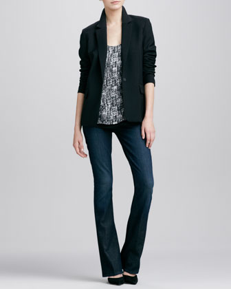 Tailored Blazer, Double-Layer Printed Silk Tank & Taylor High-Rise Boot-Cut Jeans