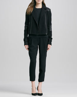 Vince Boucle Moto Jacket, Short-Leather-Sleeve Tee & Stretch Wool Harem Pants