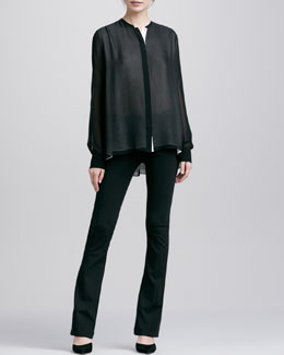 Vince Double-Layer Silk Blouse & Boot-Cut Ponte Leggings