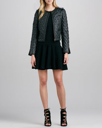 Siri Quilted Studded Leather Jacket & Cecile Drop-Waist Crepe Dress