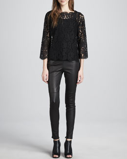 Joie Elvia Scalloped Lace Blouse & Alvarine Stretch Leather Leggings