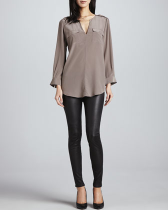 Marlo Two-Pocket Blouse & Alvarine Stretch Leather Leggings
