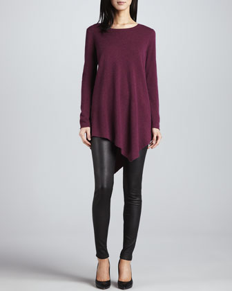 The Tambrel Sweater, Heather Shiraz & Alvarine Stretch Leather Leggings