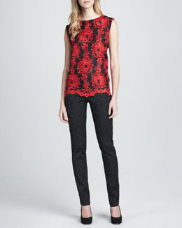 Alice + Olivia Skieler Sleeveless Jacquard Top & Brocade Skinny Pants