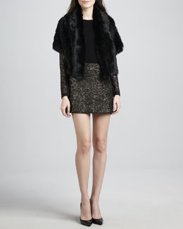 Alice + Olivia Olsen Rabbit-Fur Jacket, Lenni Lace-Sleeve Top & Elana Metallic Knit Miniskirt