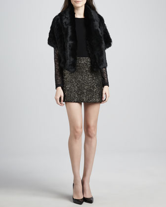Olsen Rabbit-Fur Jacket, Lenni Lace-Sleeve Top & Elana Metallic Knit Miniskirt