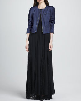 Alice + Olivia Cropped Leather Zip Jacket, Kay Leather-Side Stretch Tee & Louie Lace-Inset Maxi Skirt