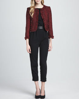 Alice + Olivia Kidman Metallic Tweed Jacket & Sebella Leather-Waist Jumpsuit
