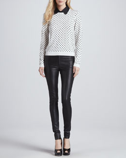 Alice + Olivia Javi Polka-Dot Sweater & Leather Leggings
