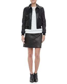 Theory Keilah Browsal Bomber Jacket, Jaidyn P Exhibit Sweater & Katen P Browsal Skirt