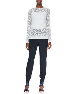 Theory Jaidyn P Exhibit Sweater & Fleta Elastic-Waist Trousers