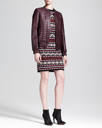 Quilted Leather Bomber Jacket & Short-Sleeve Pixel-Knit Dress