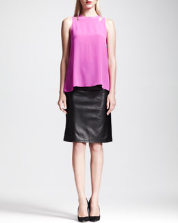 Slit-Shoulder Godet Tank & Drawstring Leather-Knee Skirt