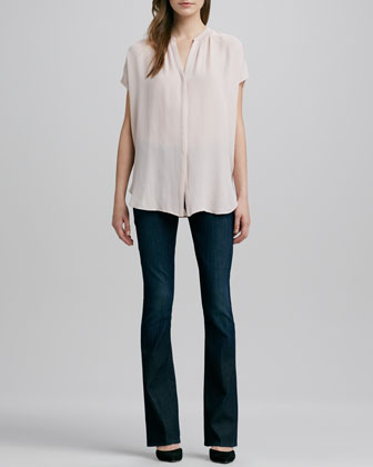 Cap-Sleeve Placket Silk Blouse & Taylor High-Rise Boot-Cut Jeans