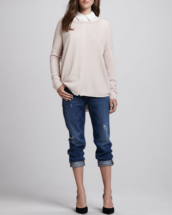 Boat-Neck Cashmere Sweater, button-down Silk Blouse & Many Winter Wrecked Boyfriend Jeans