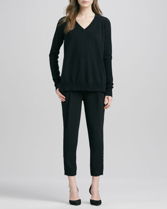 V-Neck Sweater with Raglan Sleeves & Stretch Wool Harem Pants