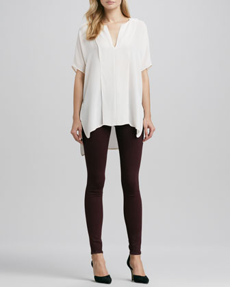 Double-Panel V-Neck Blouse & Riley Leggings