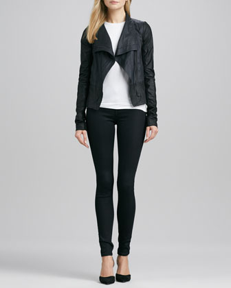 Colorblock Asymmetric Leather Jacket, Slim Dolman Tee & Riley Leggings