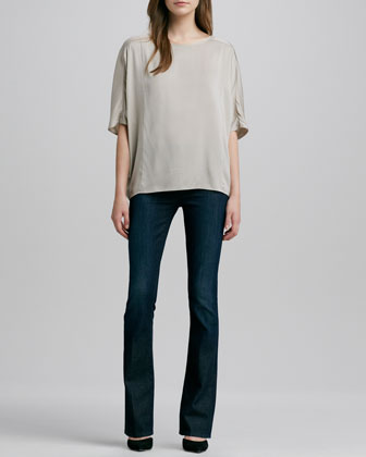 Sculpted Charmeuse Blouse & Taylor High-Rise Boot-Cut Jeans