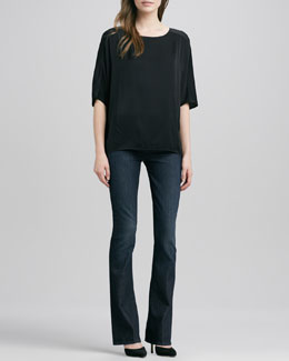Vince Sculpted Charmeuse Blouse & Taylor High-Rise Boot-Cut Jeans