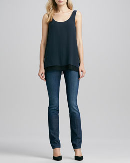 Vince Double-Layer Silk Tank & Finley Cigarette Jeans