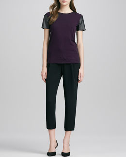Vince Short-Leather-Sleeve Tee & Stretch Wool Harem Pants