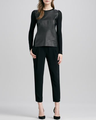 Luxe Leather/Merino Sweater & Stretch Wool Harem Pants