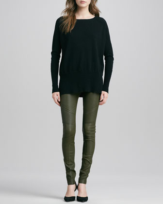 Cashmere Square-Neck Sweater & Moto Leather Pants