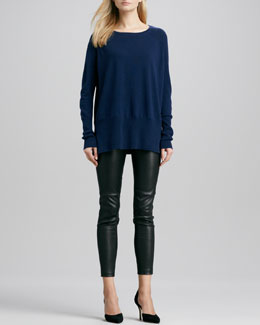 Vince Cashmere Crewneck Sweater & Zipper-Cuff Cropped Leather Leggings