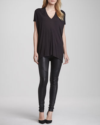 Short-Sleeve V-Neck Tee & Moto Leather Pants