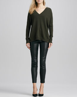 Vince Relaxed V-Neck Cashmere Sweater & Zipper-Cuff Cropped Leather Leggings