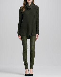 Vince Drape-Neck Cashmere Sweater & Moto Leather Pants