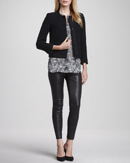 Vince Grosgrain-Trim Boucle Jacket, Printed Cap-Sleeve Placket Silk Blouse & Zipper-Cuff Cropped Leather Leggings